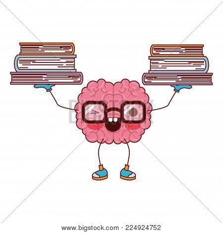brain cartoon character expression mind intelligence neurology fun caricature comic graphic vector illustration