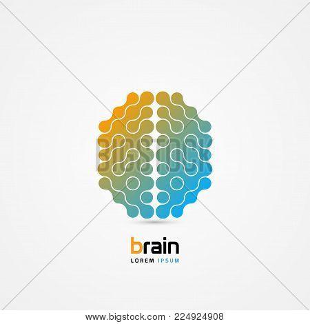 Brain symbol. Cells style. Icon. Creative mind. Vector illustration