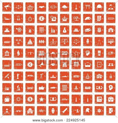 100 government icons set in grunge style orange color isolated on white background vector illustration