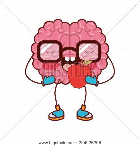 brain character expression apple mind intelligence neurology fun cartoon caricature comic graphic vector illustration