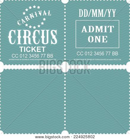 Retro Tear-off Coupon Ticket For Presentation At The Circus Theater Concert Second Party Confusing W