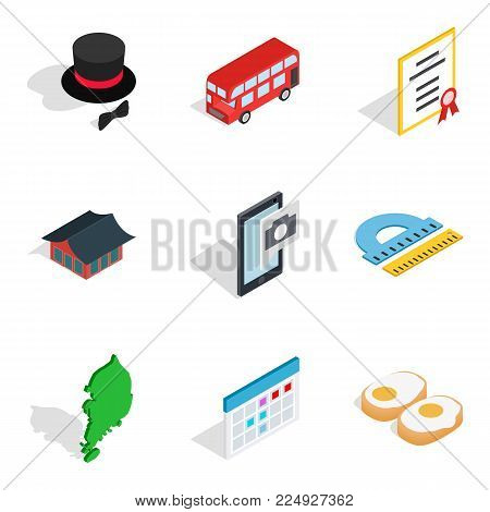 Manners icons set. Isometric set of 9 manners vector icons for web isolated on white background