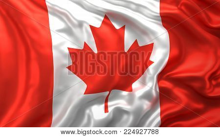 Flag of Canada blowing in the wind. 3D illustration