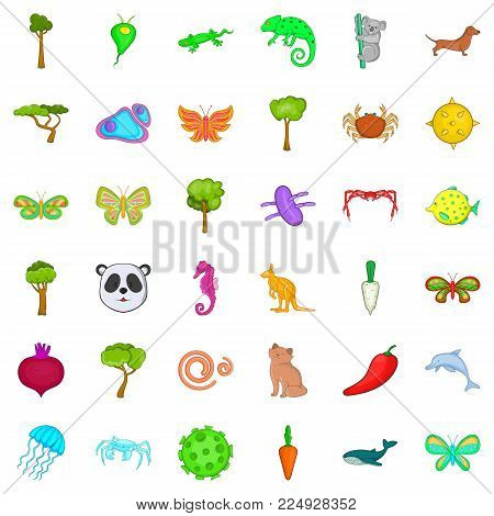 Bio environment icons set. Cartoon set of 36 bio environment vector icons for web isolated on white background