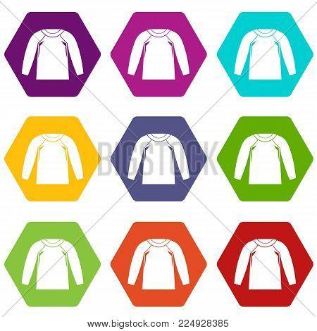 Sports jacket, icon set many color hexahedron isolated on white vector illustration