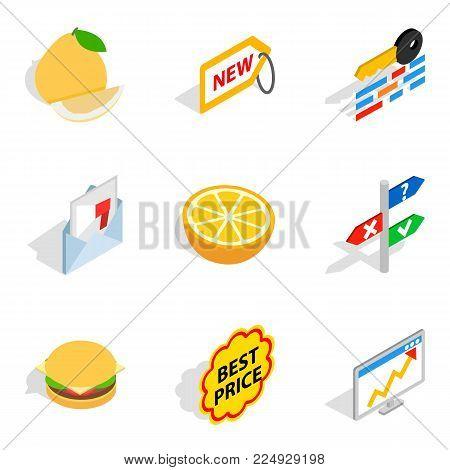 Trafficking icons set. Isometric set of 9 trafficking vector icons for web isolated on white background