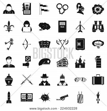 Act of war icons set. Simple set of 36 act of war vector icons for web isolated on white background