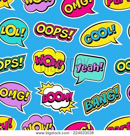 Seamless Colorful Pattern With Comic Speech Bubbles Patches On Blue Background. Expressions Oops, Co