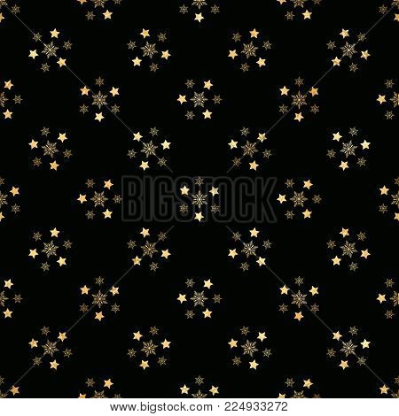 Gold Star and Gold Snowflake Seamless Pattern. seamless pattern with gold confetti stars. Vector illustration. Shiny background. Luxury seamless pattern with gold stars
