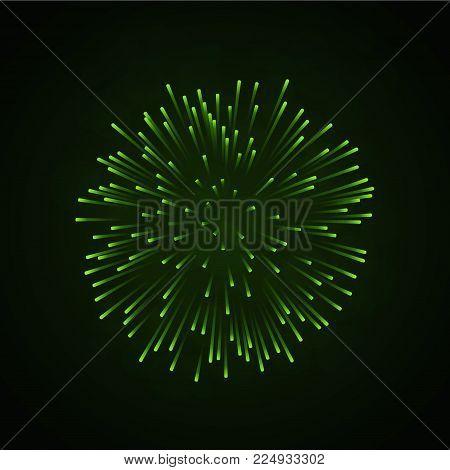 Beautiful Green Firework. Bright Firework Isolated On Black Background. Light Green Decoration Firew