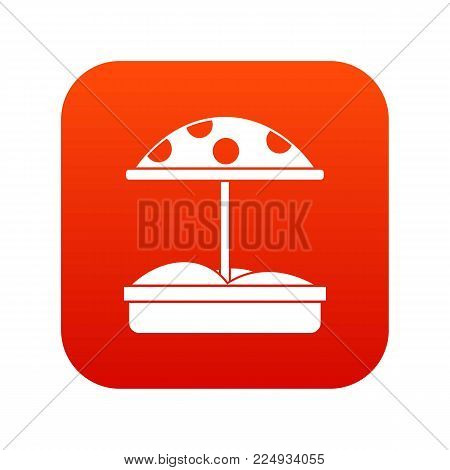 Sandbox with dotted umbrella icon digital red for any design isolated on white vector illustration