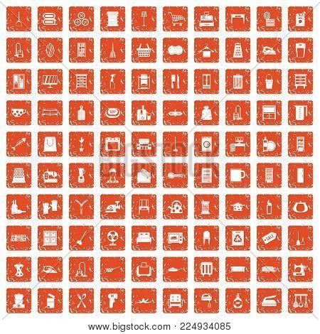 100 housework icons set in grunge style orange color isolated on white background vector illustration