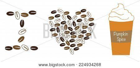 I Love Heart Pumpkin Spice Latte Coffee