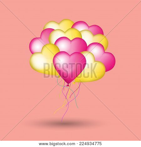 Valentine's day card with heart balloons. 3d vector illustration. Bunch of pink and golden helium balloons. Festive background for Mothers day or Womans Day.