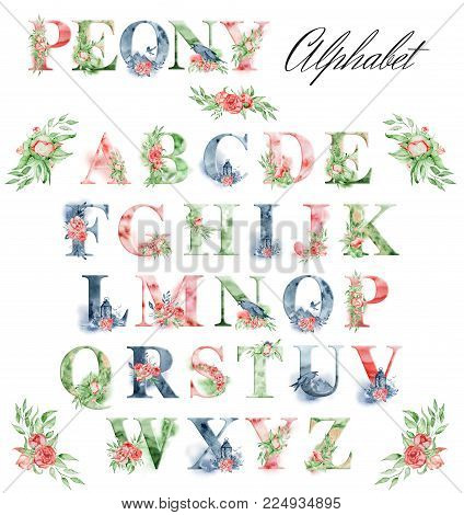 Watercolor alphabet with peonies flowers and leves. Romantic floral font. Hand drawn letters set. Monogram design