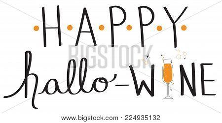 Happy Hallo Wine Halloween Holiday Lettering Image