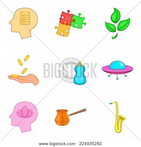 State of meditation icons set. Cartoon set of 9 state of meditation vector icons for web isolated on white background
