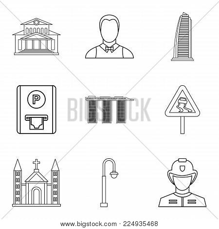 Large city icons set. Outline set of 9 large city vector icons for web isolated on white background