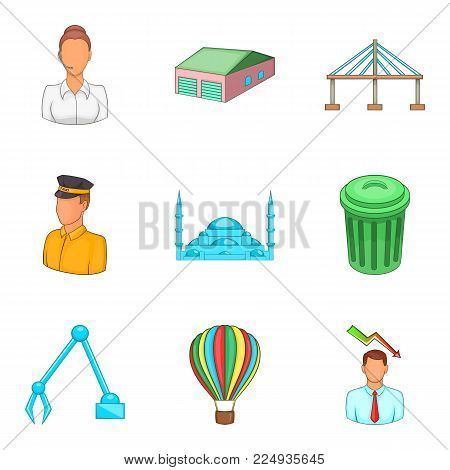 Biggest city icons set. Cartoon set of 9 biggest city vector icons for web isolated on white background