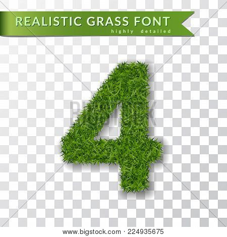 Grass number four. Green number four, isolated on white transparent background. Green grass 3D 4, fresh symbol of nature, plant lawn, summer. Grass texture spring font. Eco design Vector illustration