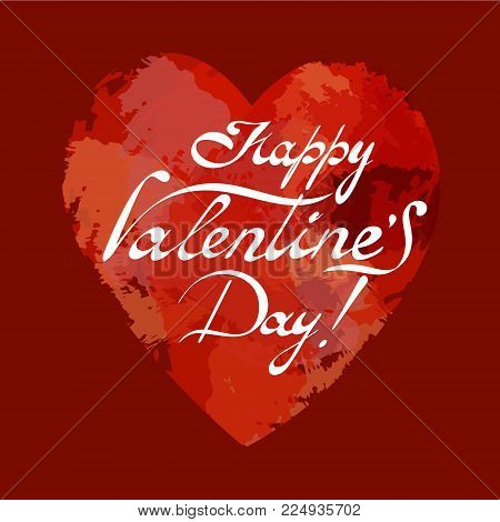 Happy Valentine's day greeting card. Lettering. Vektor.