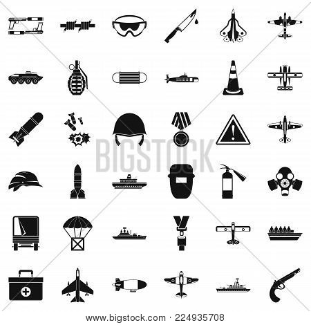 Army depot icons set. Simple set of 36 army depot vector icons for web isolated on white background