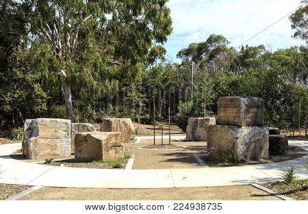 BRIBIE ISLAND, AUSTRALIA - January 29, 2018: Memorial Park with remains of the observation towers at WW II RAN 4 Station in Woorim, Bribie Island, Australia
