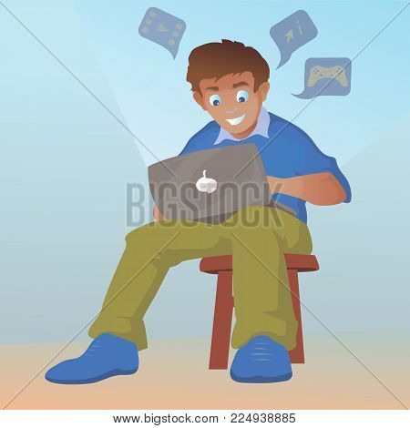 Teen happy smiling boy character talking and chatting on network. Vector flat cartoon illustration
