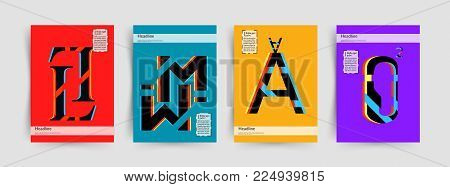 Modern Typographic Colorful Covers. Letters L, M, A, O With Abstract glitch Design Background. Vector Trendy Template For Your Posters, Banners, Presentations, Layouts.