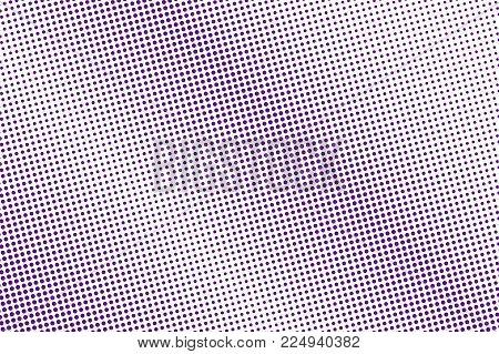 Purple White Dotted Halftone. Halftone Vector Background. Diagonal Subtle Dotted Gradient. Retro Fut