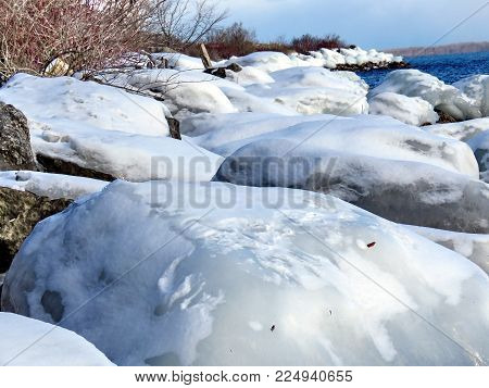 View of winter shore of the Lake Ontario in Toronto, Canada, January 14, 2018