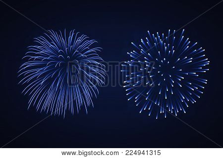 Beautiful Blue Fireworks Set. Bright Fireworks Isolated Black Background. Light Blue Decoration Fire