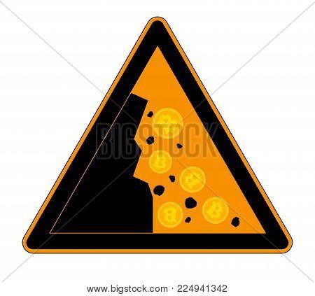 Attention sign Bitcoin Falls Down. Cartoon Style Vector Illustration