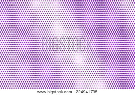 Violet White Dotted Halftone. Halftone Vector Background. Regular Textured Dotted Gradient. Retro Fu