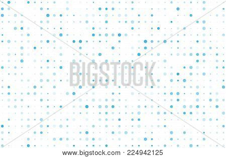 Dotted background with circles, dots, point different size, scale. Halftone pattern. Design element for web banners, posters, cards, wallpapers, sites, panels. Blue color Vector illustration