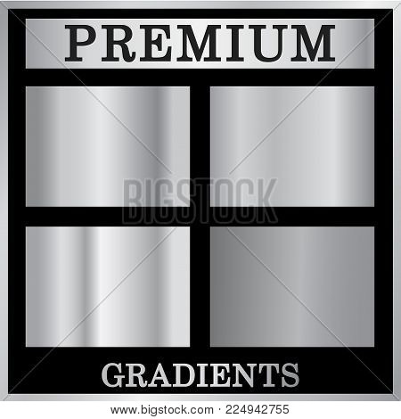 Silver Gradient Backgrounds Set. Silver Design Texture For Ribbon, Frame, Banner. Abstract Silver Gr