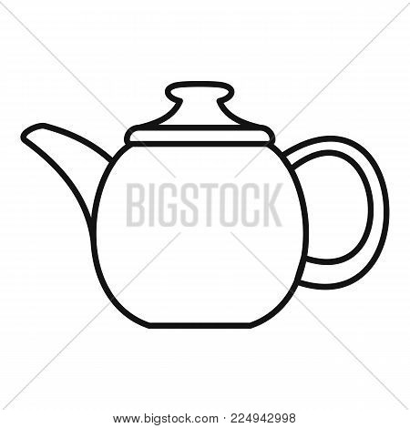 Steel teapot icon. Outline illustration of steel teapot vector icon for web
