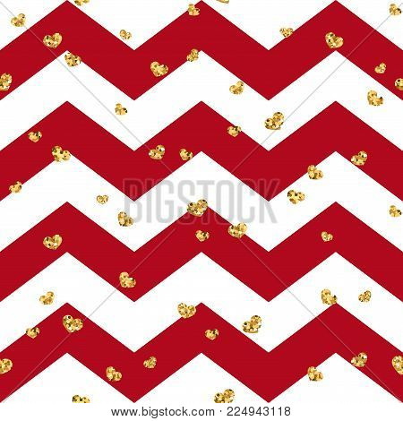 Gold Heart Seamless Pattern. Red-white Geometric Zig Zag, Golden Confetti-hearts. Symbol Of Love, Va