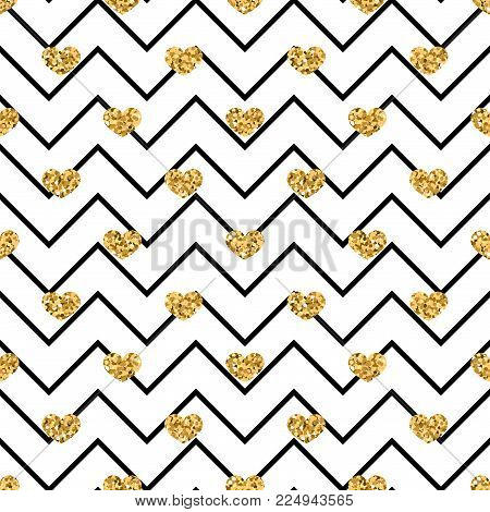 Gold Heart Seamless Pattern. Black-white Geometric Zig Zag, Golden Confetti-hearts. Symbol Of Love,