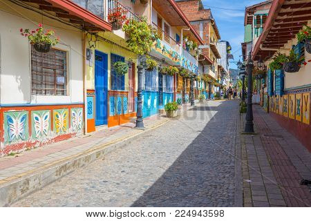 January 2018 In the morning  tourists can admire the narrow streets of Guatape,  the colonial city considered the most beautiful in Colombia.
