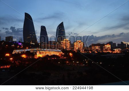 Night view from Baku's mountain park. Night panoramic view of Baku. A bird's-eye view. Republic of Azerbaijan