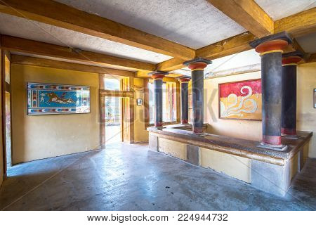 Heraklion, Greece - January 28, 2017: Copies Of Fresco In A Hall At The Palace Of Knossos, Famous An