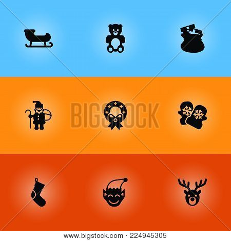 Set of 9 holiday icons set. Collection of christmas wreath, gnome, mitten and other elements.