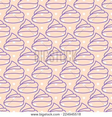 Marshmallows pink seamless vector pattern. Girlish cute background.