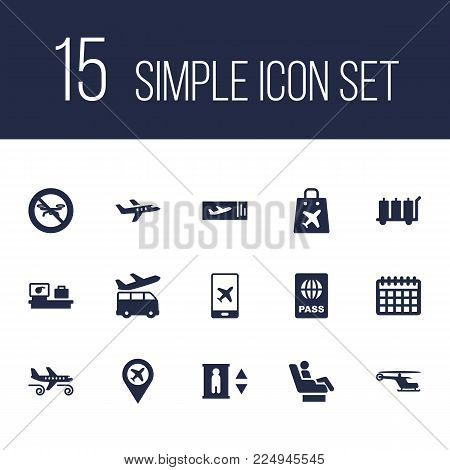 Set of 15 aircraft icons set. Collection of coupon, certification, e-ticket and other elements.