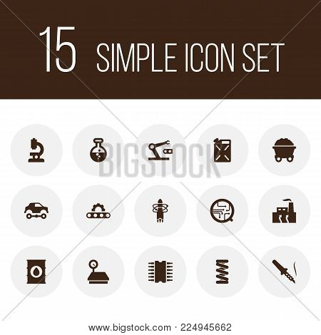 Set of 15 technology icons set. Collection of deployment, mine, automotive and other elements.