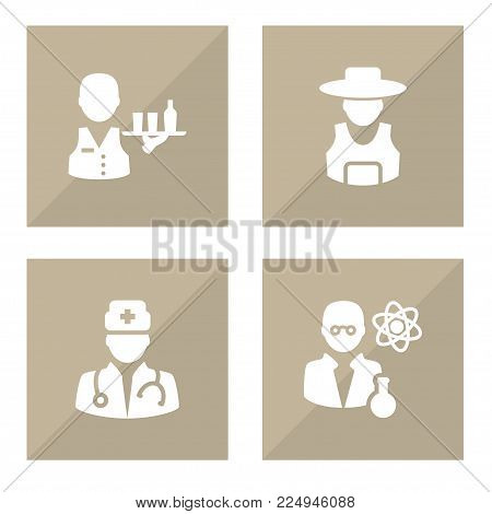 Set of 4 job icons set. Collection of scholarly, medic, rancher and other elements.