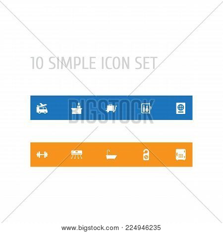 Set of 10 travel icons set. Collection of check in, rest time, barbell and other elements.