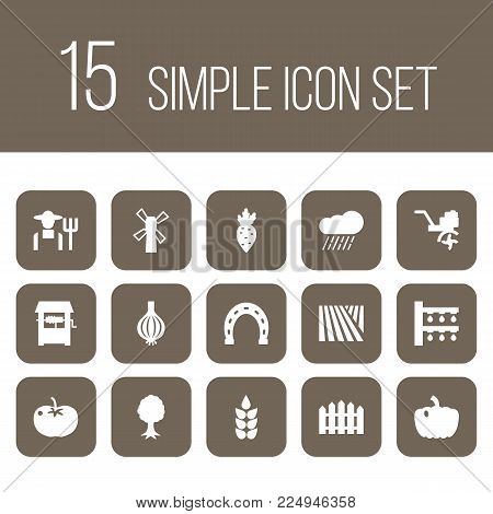 Set of 15 agriculture icons set. Collection of onion, beet, well and other elements.