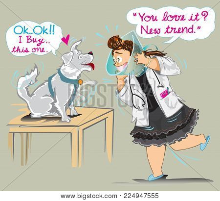 Veterinarian sale the collar with dog she wear it, funny cute cartoon acting for animal hospital and clinic commercial art illustration vector has clipping paths.
